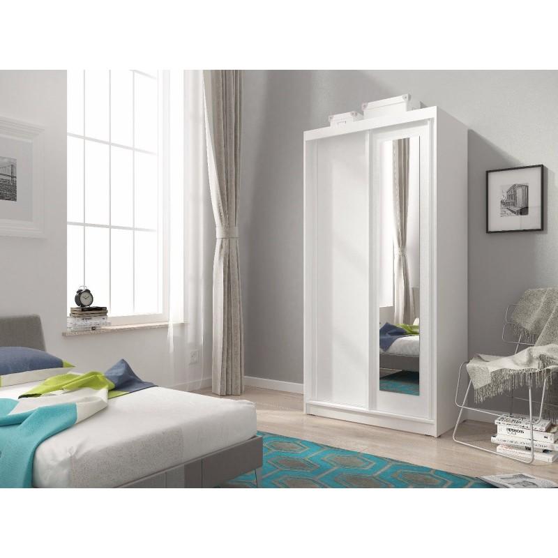 MINI SLIDING DOORS BEDROOM SMALL MIRRORED WARDROBE WHITE ...