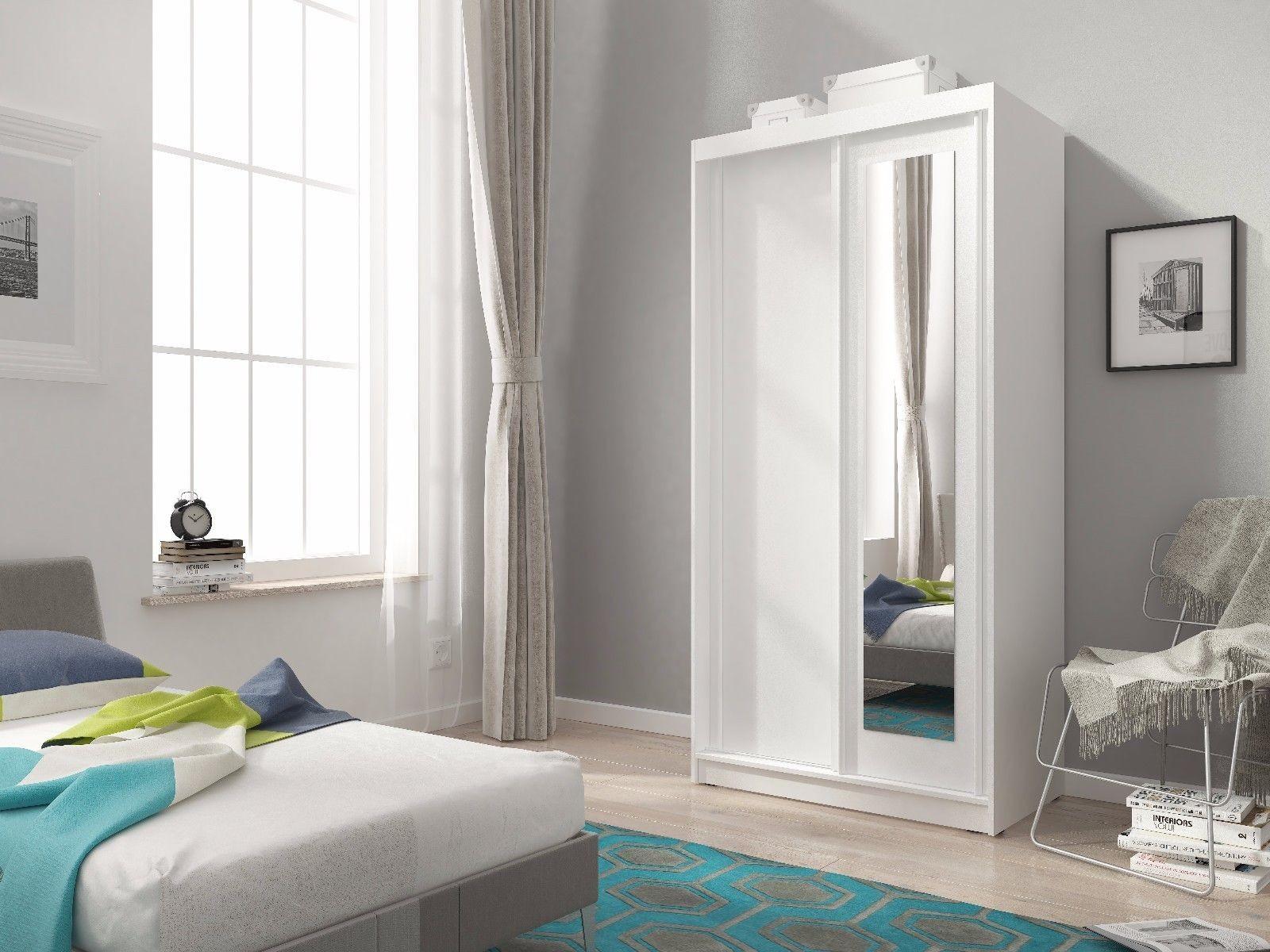 Mini Sliding Doors Bedroom Small Mirrored Wardrobe White Light Oak Brown W 100cm Ebay