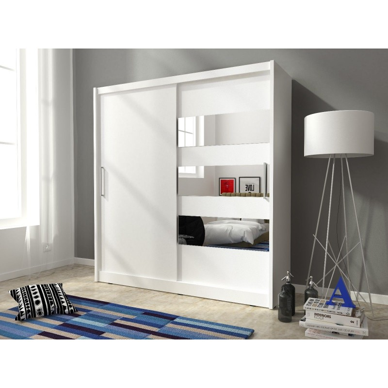 Maya 3 Sliding Doors Horizontal Mirror Bedroom Wardrobe White