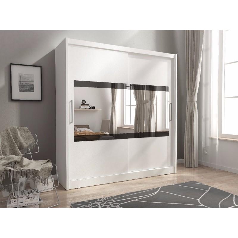 Maya 4 2 Doors Horizontal Mirror Bedroom Wardrobe White Light Wood Oak With Hanging Rail 180cm Or 200cm Wide