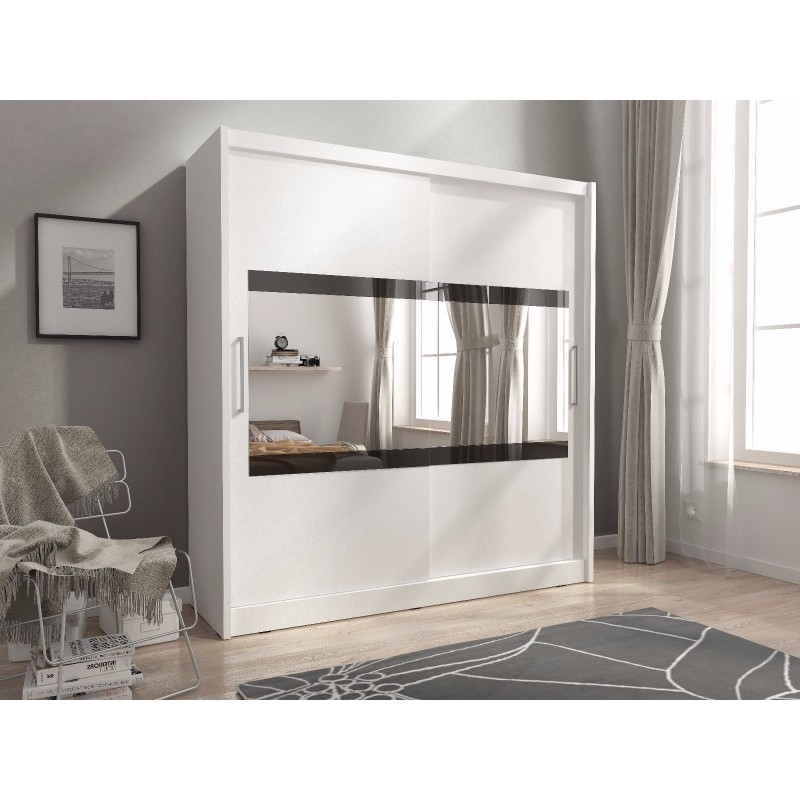 Maya 4 2 Doors Horizontal Mirror Bedroom Wardrobe White