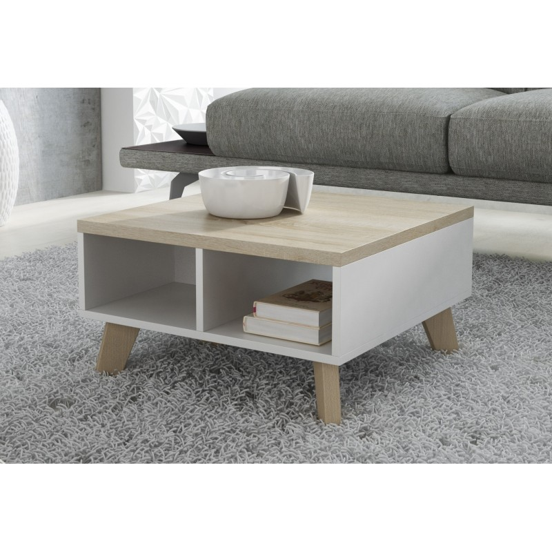 Scandinavian Style Coffee Table 60cm X 60cm Small White Oak Finish