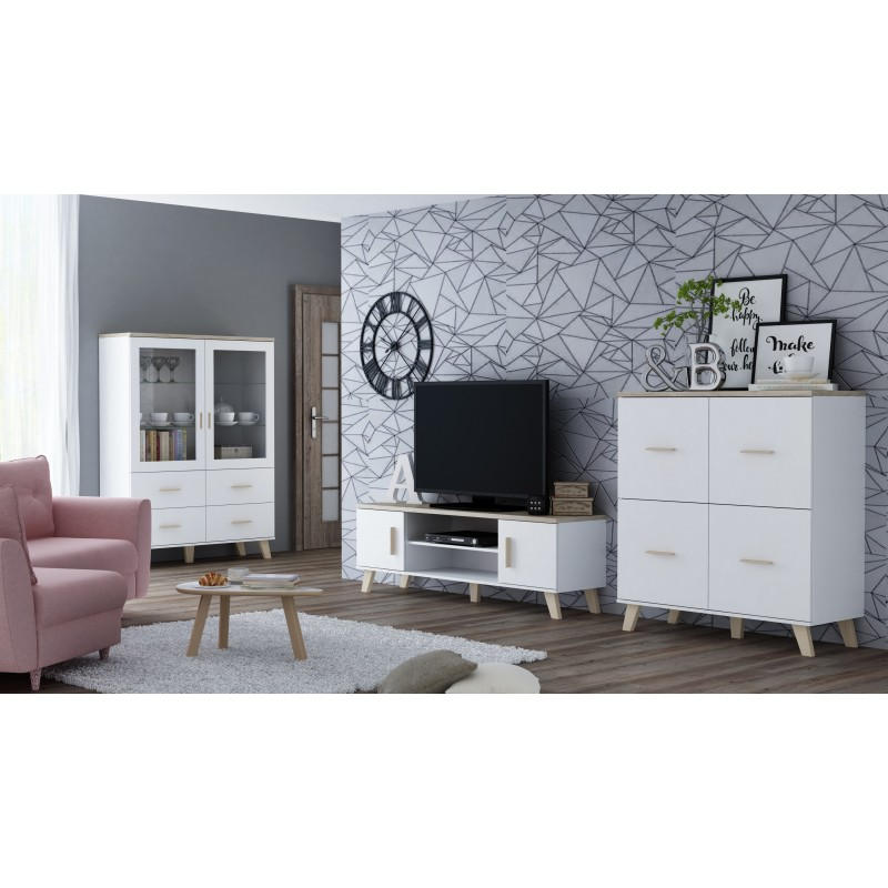 Scandinavian Style Furniture Set White Oak Finish
