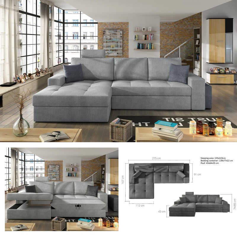 Bmf Smart Modern Corner Sofa Bed Storage Faux Leather Fabric Lf