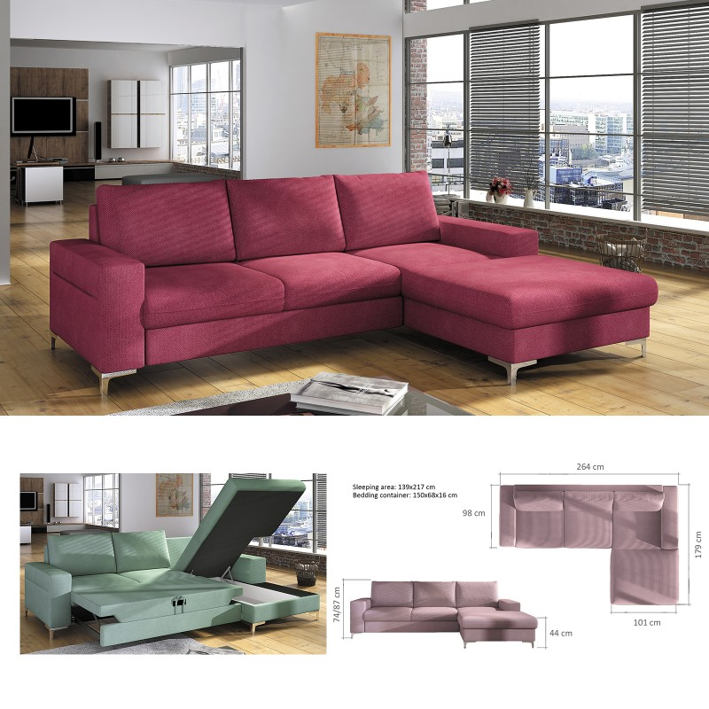 100% authentic 6c35f e3144 BMF 'LENS' MODERN Corner Sofa Bed Storage CHROME LEGS Faux Leather/Fabric RF