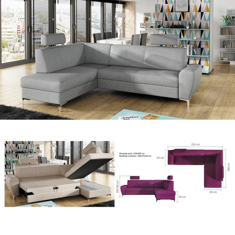 Swell Bmf Rino Modern Corner Sofa Bed Storage Chrome Legs Faux Leather Fabric Lf Download Free Architecture Designs Momecebritishbridgeorg