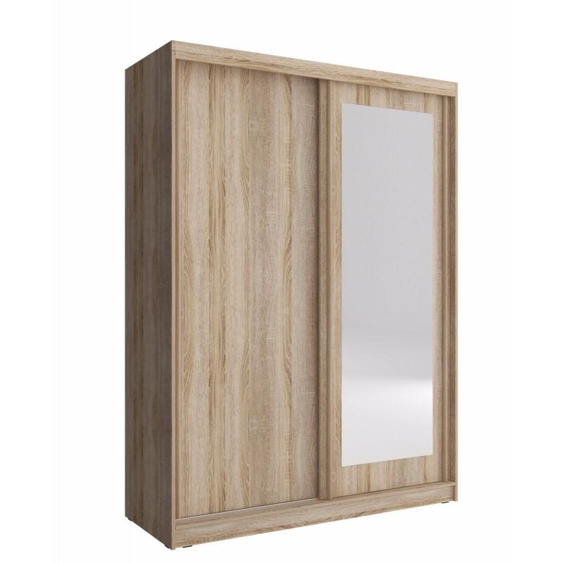Mirrored Wardrobe White Light Oak, Small Mirrored Wardrobe With Sliding Doors