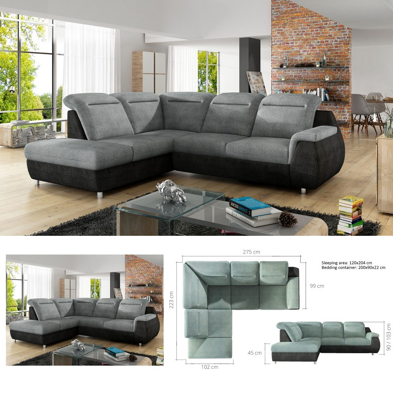 Astounding Bmf Monero L Modern Corner Sofa Bed Storage Faux Leather Fabric Lf Onthecornerstone Fun Painted Chair Ideas Images Onthecornerstoneorg