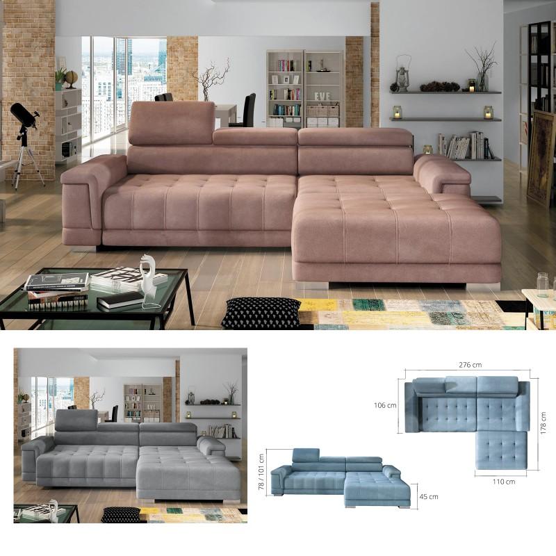 BMF \'CAMPO MINI\' MODERN Corner Sofa CHROME LEGS Faux Leather/Fabric RF