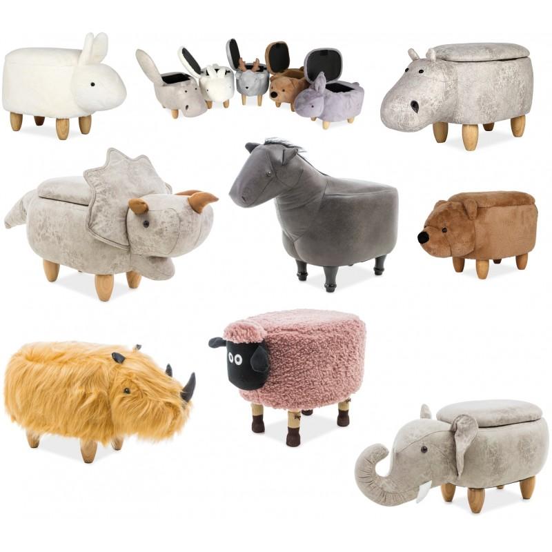 Kids Room Animal Shape Pouffe Footstool With Storage