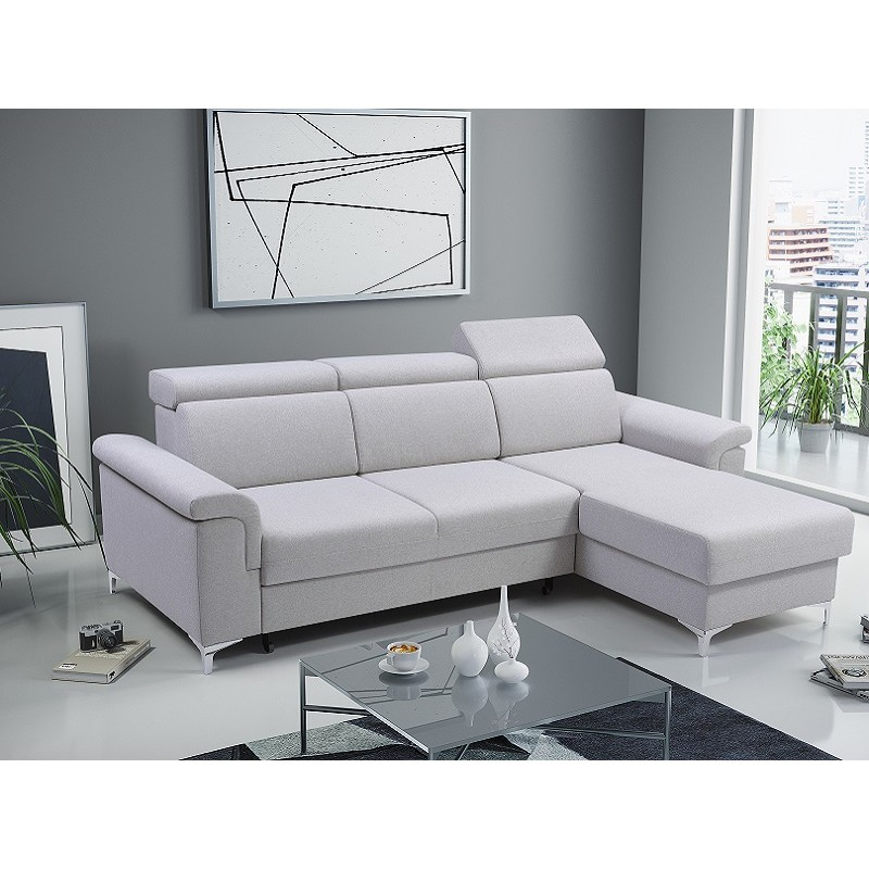 Amazing Bmf Vermont Modern Corner Sofa Bed Storage Chrome Legs Fabric 252 Cm Wide Right Onthecornerstone Fun Painted Chair Ideas Images Onthecornerstoneorg