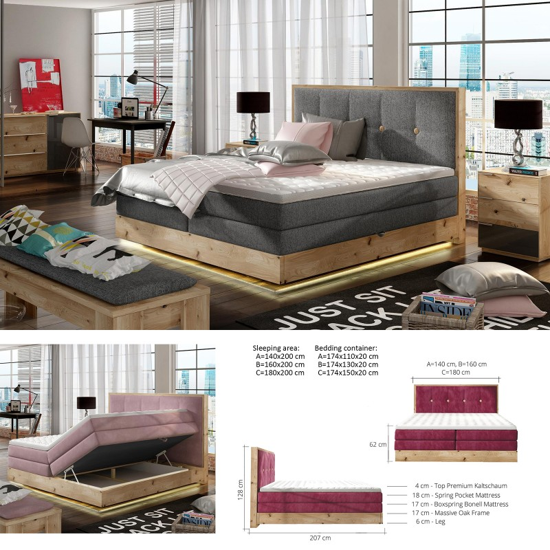 Bed 140 Cm.Bmf Etno Led 140 160 180 Cm Wide Mattress Double Bed Oak Frame Faux Leather Fabric