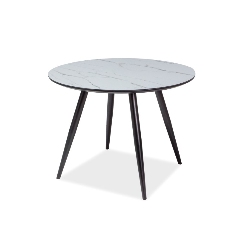 Bmf Ideal Round Table 100cm Marble Effect Black Legs Scandinavian
