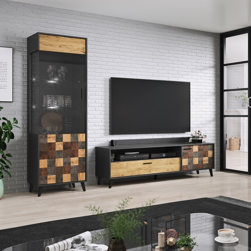 Bmf Soul Set 1 Wall Unit Legs Tv Stand Tall Display Cabinet Living Room