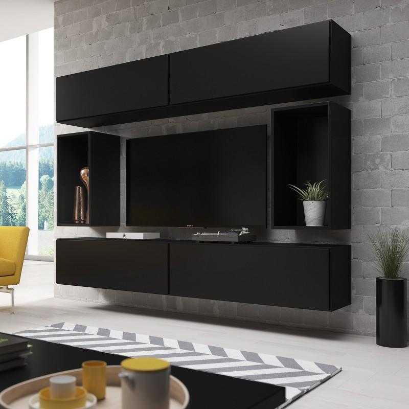 Bmf Roco Set 1 Black Matt Cabinets, Black Living Room Cabinet