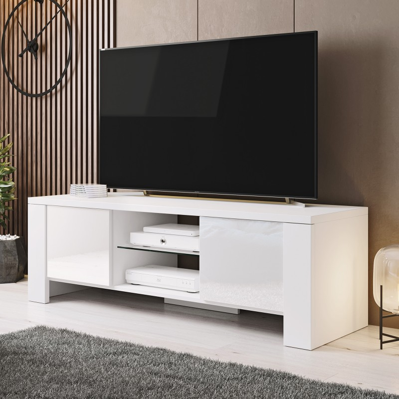 Bmf West Tv Stand 130cm Wide White High Gloss Modern Living Room