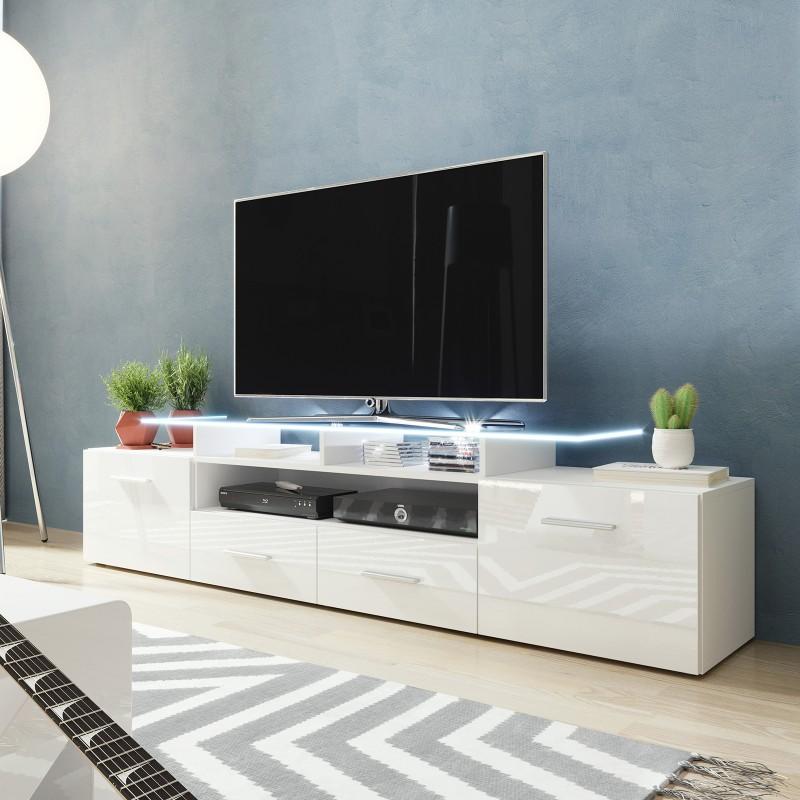 Bmf Evora White Tv Stand 194cm Wide White High Gloss Led
