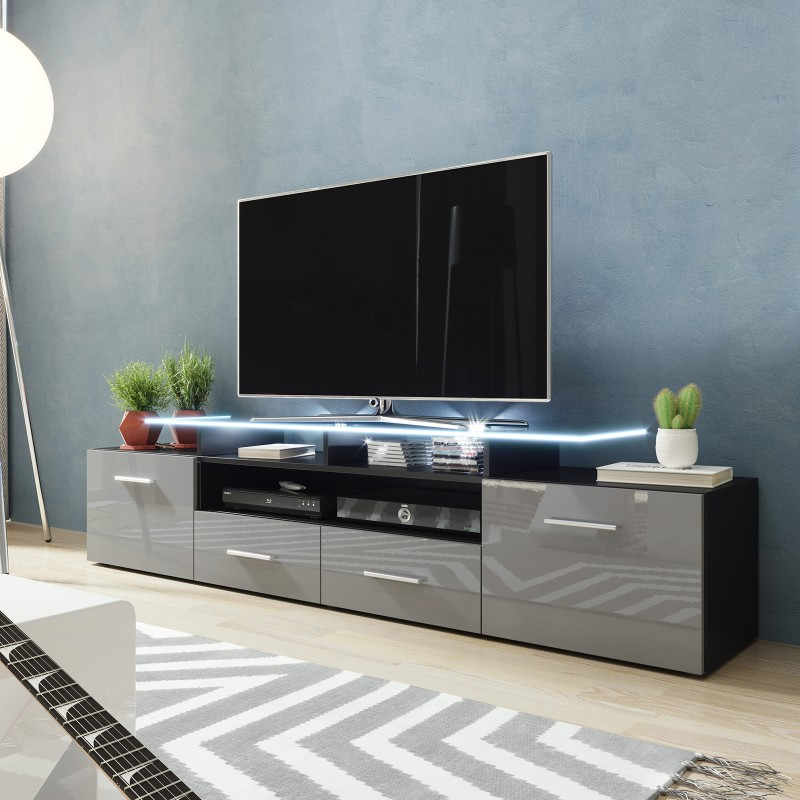 BMF Evora Black TV Stand 194cm Wide Grey High Gloss LED