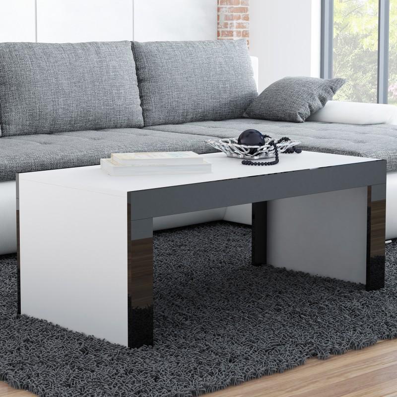 Coffee Table Bmf Tess 120cm Wide Rectangular Shape White Matt Black High Gloss Strip