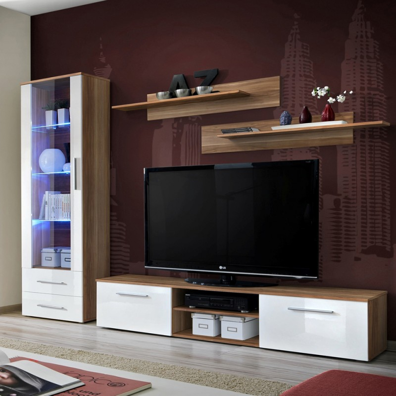 Bmf Galino A Wall Unit Living Room Set 250cm Wide High Gloss Tv Stand Two Shelves Display Cabinet Glass Door Led Lights