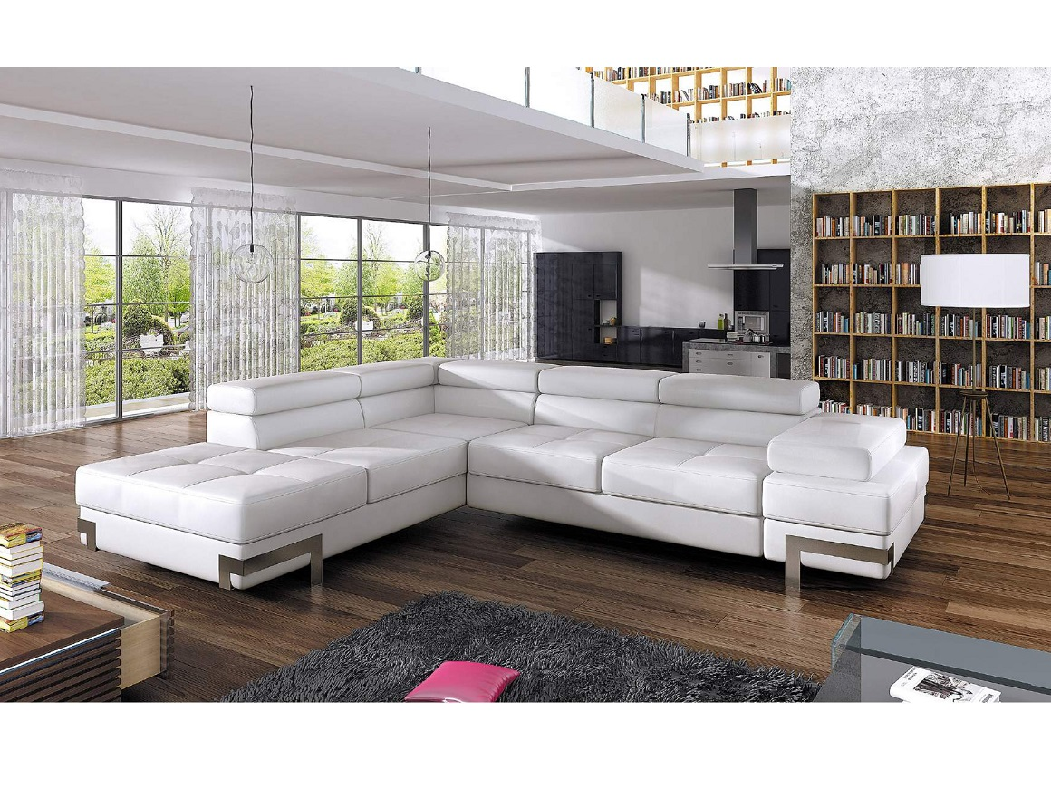 Picture of: Bmf Emporio Corner Sofa Bed White High Quality Easy Clean Faux Leather Ebay