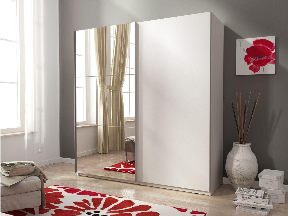 detailed look ae4ea 006cc Details about MIA 2 Sliding 2 Door Mirrored Wardrobe in White Matt-Modern  Design-150cm / 5'
