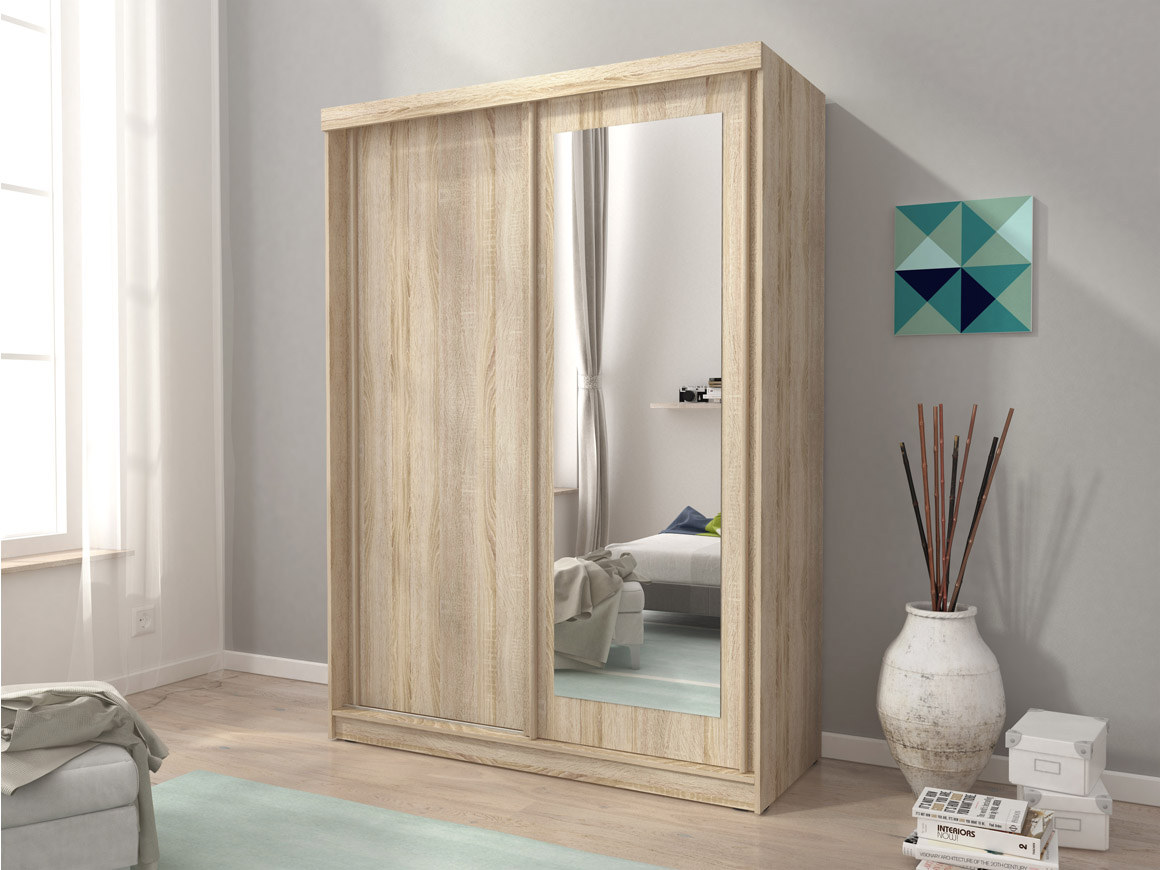 Mini2 Sliding Doors Bedroom Medium Mirrored Wardrobe White