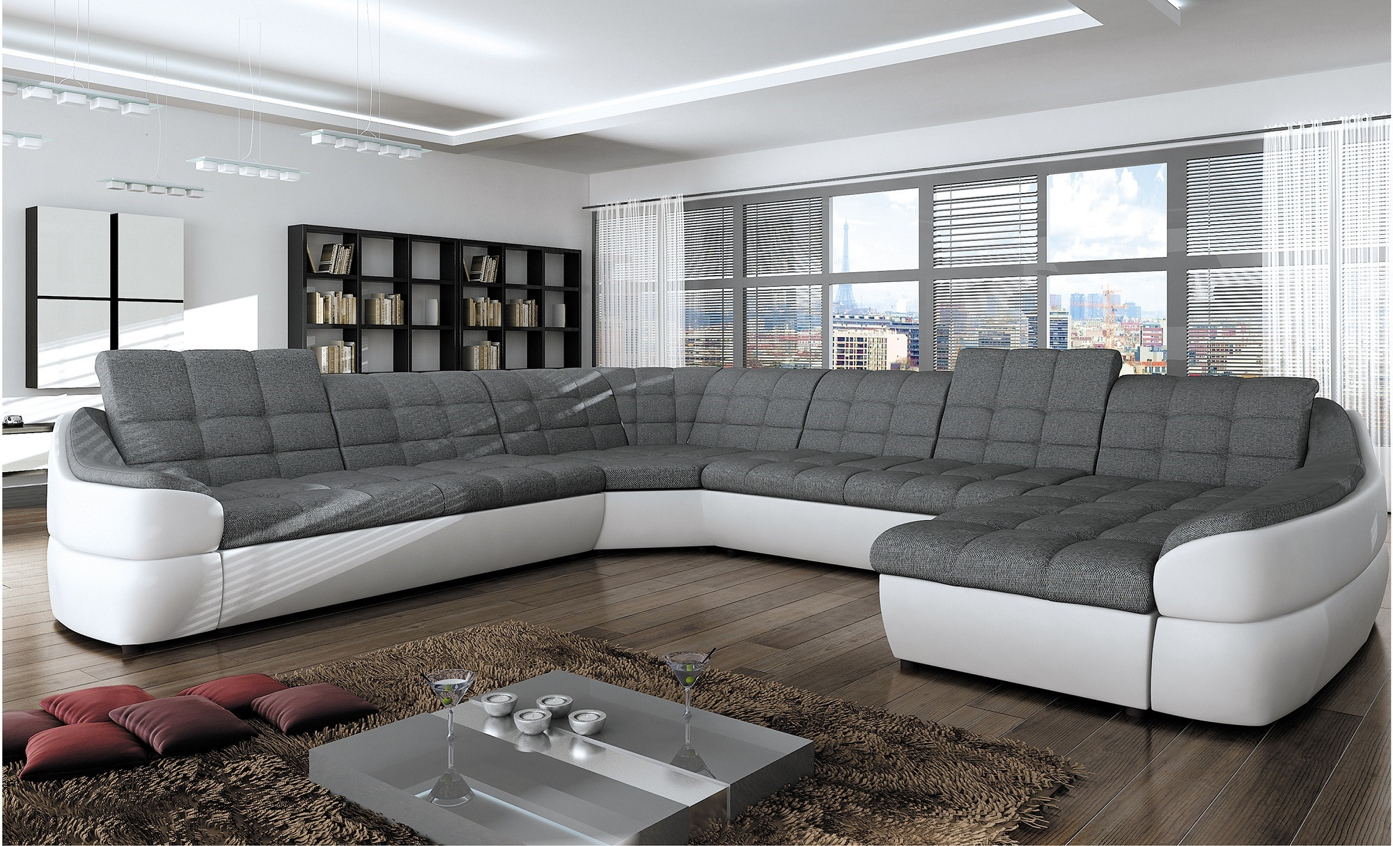 BMF INFINITY XL WHITE GREY 6-SEATER FAUX LEATHER/FABRIC CORNER SOFA BED  COMF RF | eBay