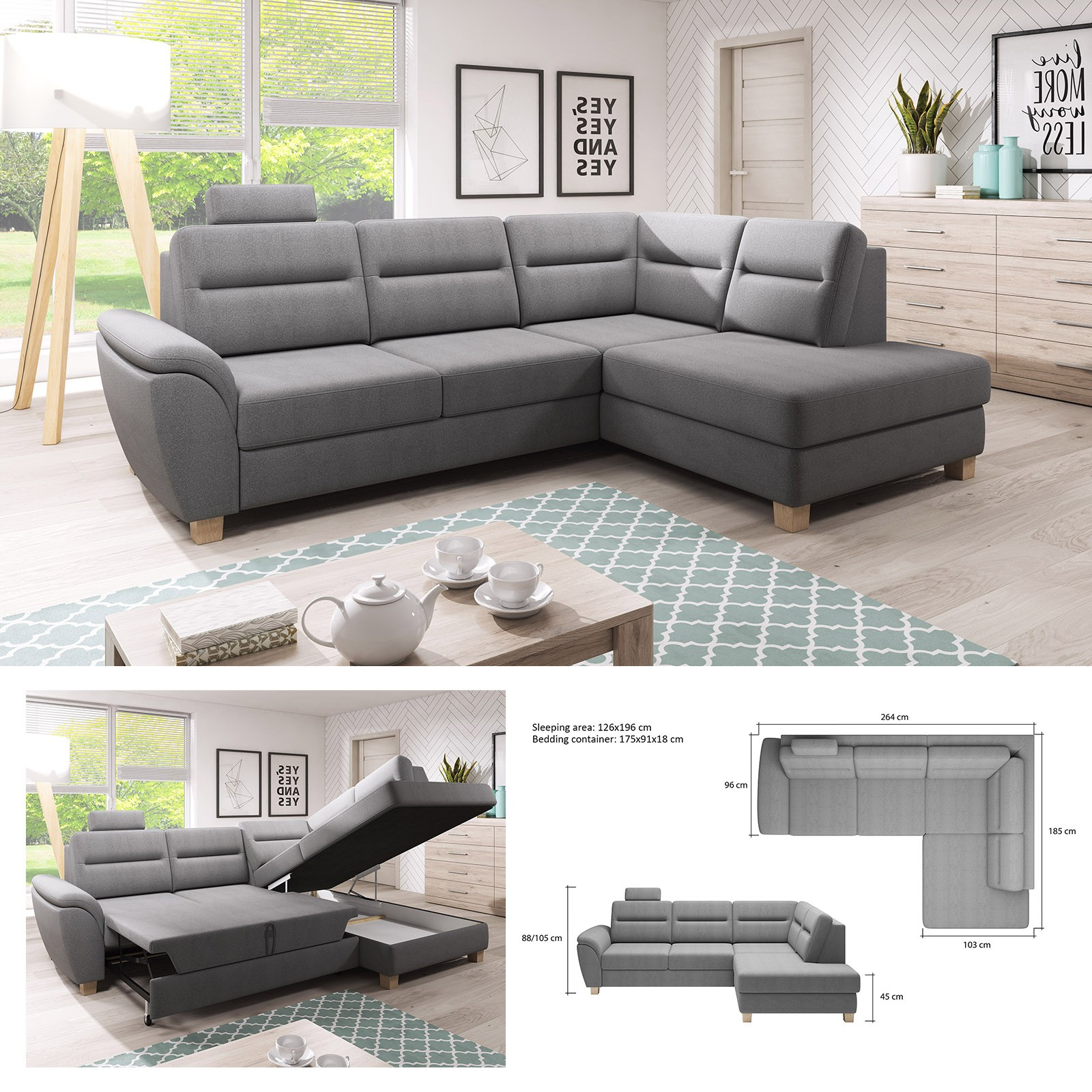 huge discount 60934 16819 Details about BMF 'SANTI' MODERN Corner Sofa Bed Storage Wooden Legs Faux  Leather/Fabric RF