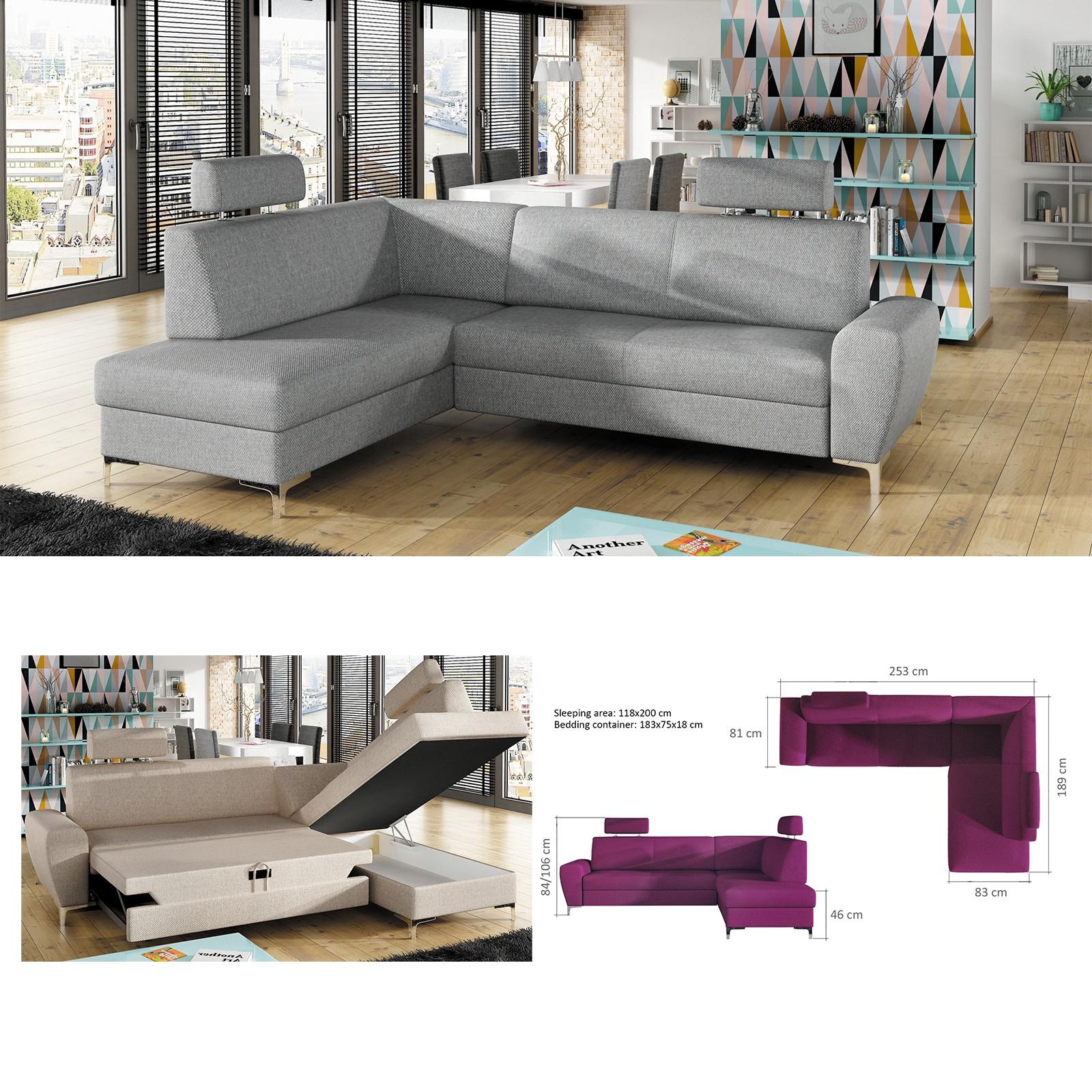 BMF \'RINO\' MODERN Corner Sofa Bed Storage CHROME LEGS Faux Leather/Fabric  LF 2003816000002 | eBay
