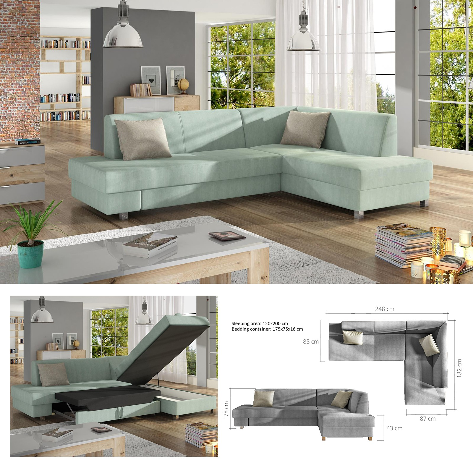 huge selection of f419f 6b18e Details about BMF 'LOONA' MODERN Corner Sofa Bed Storage CHROME LEGS Faux  Leather/Fabric RF