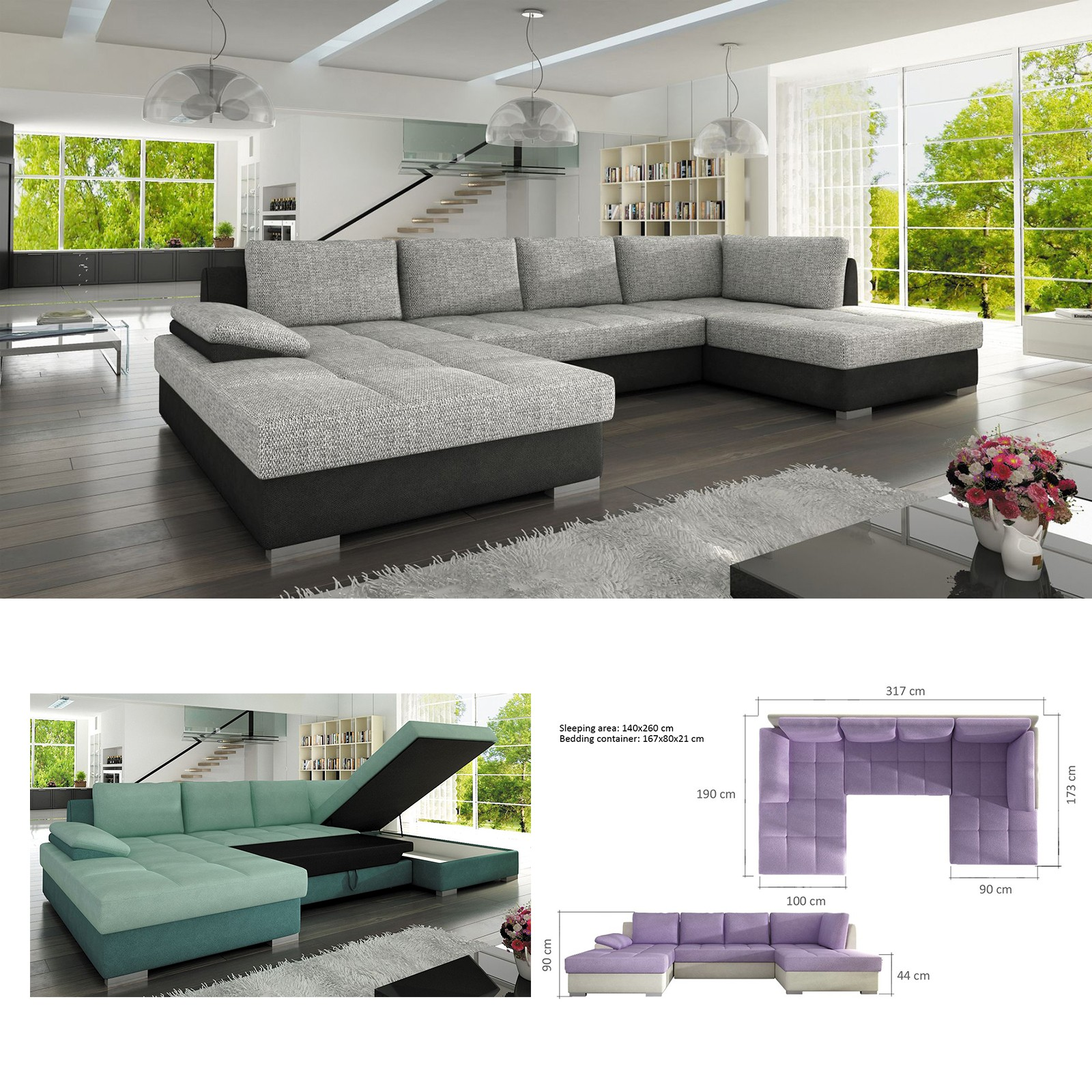 Details about BMF \'NELLY MAXI\' MODERN Corner Sofa Bed Storage Faux  Leather/Fabric RF