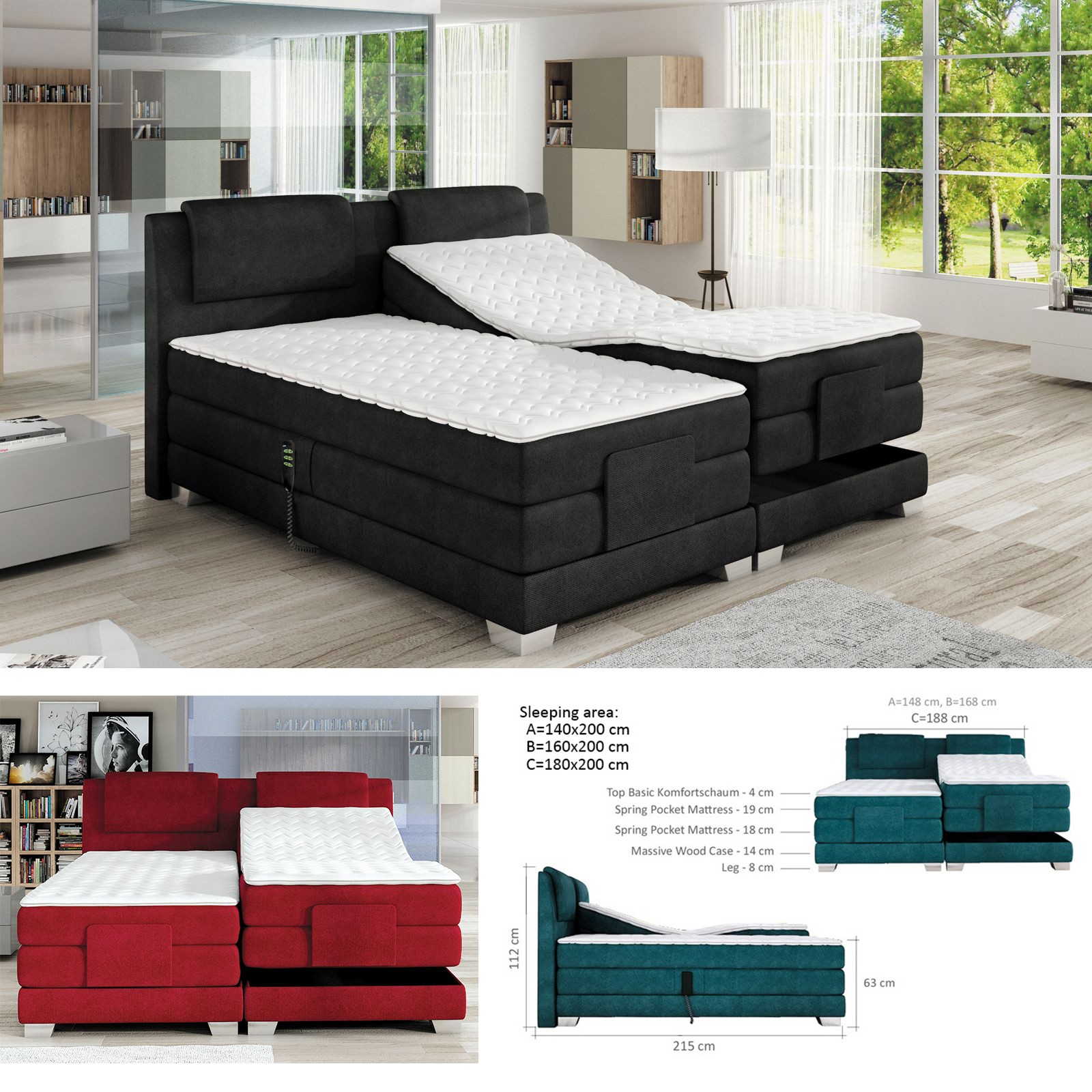 Bmf Wave 140 160 180 Cm Wide Mattress Modern Double Bed Faux