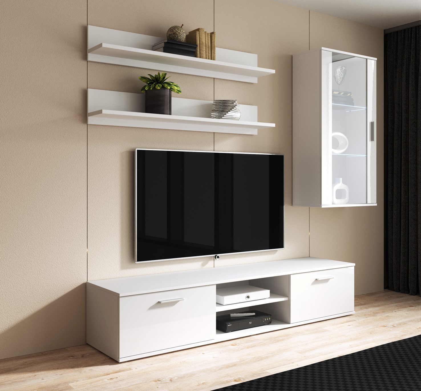 Soho 5 Furniture Set Tv Stand Wall Display Shelf Led White Black Grey Sonoma Ebay